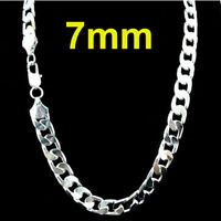 Fashion Men's 925 Silver 7mm Cuban Link Chain Necklace Jewelry 22 inches