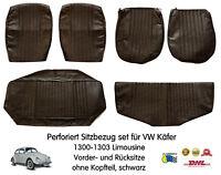 VW Volkswagen Kaefer Käfer 1300 1303 Perforiert Sitzbezug set Schwarz DHL