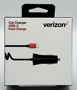 New Fast Charge USB-C / Type-C Car / Vehicle Charger & 6ft Cable by Verizon