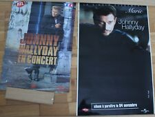 Johnny Hallyday, deux affiches - en concert et single Marie