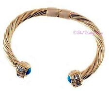 Turquoise Gold Filled Catwalk Torque Bracelet Bangle w Square Swarovski Crystals
