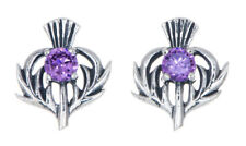 Sterling Silver Thistle Stud Earrings With a February Birthstone Centre