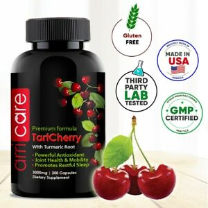 Tart Cherry Extract Capsules 3000Mg Max Strength with Turmeric 200 Antioxidant