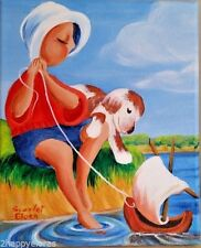 Painting Home Decor Boy His Dog Playing with Boat Children Women original 8x10