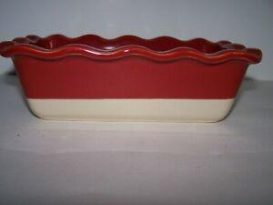Emile Henry France Ruffled Loaf Pan Meatloaf Bread Baker Williams-Sonoma Red EUC