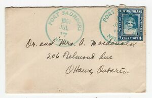 Newfoundland - Port Saunders 1951 Large CDS - Attractive Cover to Ottawa ONT