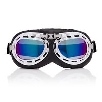 Silver + Blue Flying Motorcycle Scooter Goggles Retro Vintage Steampunk Glasses