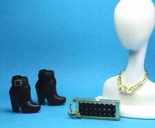 Black Label The Look Urban Jungle Block Heel Gold Buckle Boots Necklace Purse