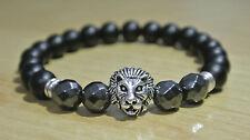 Edelstein Hämatit Onyx Armband Löwe Bracelet Silber 100% HANDMADE Buddha
