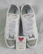 BLING**Customised Crystal BRIDAL Wedding Mono All White CONVERSE Lo Tops 3-9