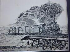 ORIGINAL PEN & INK  DRAWING HAROLD BUMCROT  AMERICAN RAILROAD TRAIN