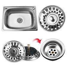2Pcs Kitchen Stainless Steel Waste Plug Sink Drain Stopper Basket Strainer