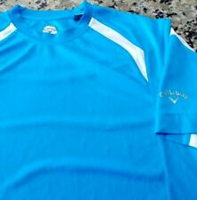 Callaway Men's L Large Blue White Tee T shirt Active Golf Vented 0162011