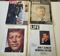 Vintage JFK memorabilia. 1960s Magazine Lot of 4. Post, Life, Look, JKF +Jackie