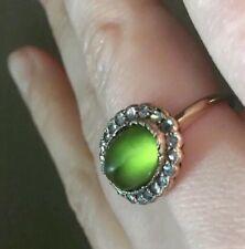 Antique Sugarloaf 15k Daisy ring natural Peridot Diamonds Ring