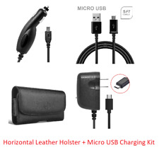 for Samsung 4 in 1 Accessory Kit Leather Case + Car + Home Charger + USB Cable