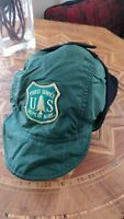 Vintage US Forest Service Hat Ear Flaps Mens Green Forestry Ranger Polartec L/XL