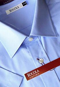 Rocola - Easycare pale blue short sleeve cotton shirt 17 1/2