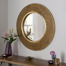 Rome Large Round Wall Mirror Modern Gold Frame Art Deco Studded 79cm Diam