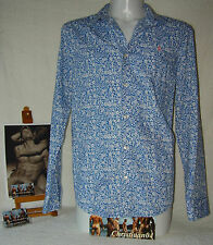 Mens Sexy Heritage White/Blue Flower Print Long Sleeve Shirt Pos Gay Int Wow HTF
