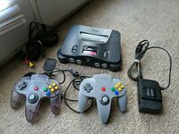 Nintendo 64 N64 OEM Console Complete Bundle 2 Controllers Tested NICE
