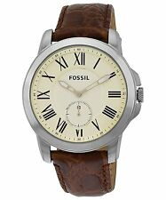 FOSSIL GRANT SILVER TONE,BROWN CROCODILE LEATHER BAND,ROMAN NUMBERS WATCH FS4963