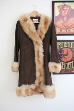 Vintage Suede Afghan sheepskin Fur collar cuffs 60s 70s penny lane coat jacket S
