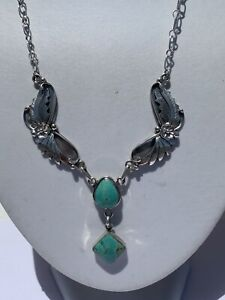 Richard Begay Navajo Sterling Silver Turquoise Feather Necklace Chain