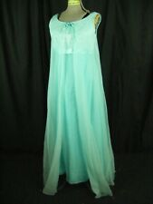 Vtg 60s Baby Blue Illusion Lace High Waist Layer Long Dress-Bust 33/2XS