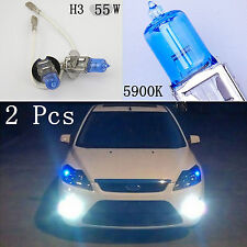 2 Pcs H3 12V 55W SUPER WHITE 5900K XENON HID FOG LIGHT BULBS FOR DRIVING LIGHT