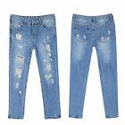 Women's Ripped Distressed Denim Jeans Pants Long Skinny Destroyed Faded Trousers
