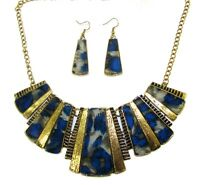 Blue Grey Pattern Print Statement Necklace and Earring Set - NEW