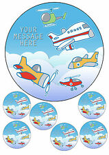 "Airplane / helicopter personalised cake topper 7.5"" round&6 x toppers A4 icing"