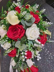 Wedding Flowers Brides Very Large Teardrop Bouquet Red Ivory pearls crystal spra