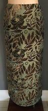 Khaki & Bronze GINA BACCONI Burnout Fabric Straight Maxi Skirt Plus Size 18
