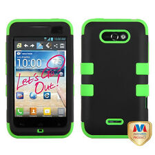 For LG Optimus Regard Motion 4g IMPACT TUFF HYBRID Case Phone Cover  Black Green