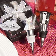 Bride and Groom Wine Bottle Stopper Set Wedding Favor Dress Tux Barware Drink
