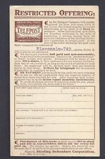 Ca 1910 P C NYC STERLING DEBENTURE CO SELLS SHARES IN TELEPOST, UNPOSTED