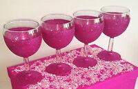 4 HOT PINK GLITTER GLASS SET WEDDING BRIDE PRESENT BIRTHDAY CHRISTMAS GIFT
