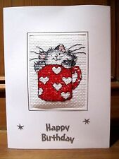 """Completed Cross Stitch BirthdayCard 8""""x6"""" Margaret Sherry Cat in a Mug Red Heart"""
