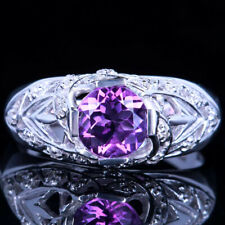 14K WHITE GOLD NATURAL AMETHYST NATURAL DIAMONDS FILIGREE ANTIQUE RING WHOLESALE