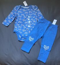 Baby Girl 12-18 Month Baby Gap Blue Floral Print Bodysuit & Heart Leggings
