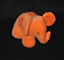 Peluche doudou éléphant orange MOTHERCARE WATFORD broderies rouges 15 cm NEUF