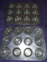 2 Nesting Mini Muffin Cupcake Pans Tins Aluminum Mirro Foley Vtg Bakeware