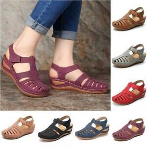 Women Ladies Orthopedic Sandals Closed Toe Mules Summer Slippers Flat Shoes Size