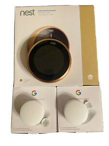 Nest thermostat 3rd generation copper *no base* + 2 sensors