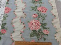 """Vintage c1940 Pink Roses & Floral Ribbons Striped Rayon Fabric Panel~41""""X22"""""""