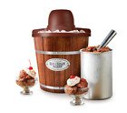 Old Fashioned Ice Cream Maker, Electric Motor, 4-Quart, Wood Bucket, Home photo