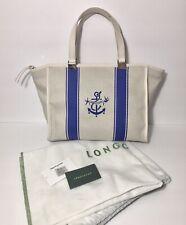 Longchamp NWOT Nautique Small Ancor Tote Canvas Leather Trim Beige Blue Handbag