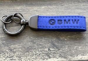 NEW BMW LOGO KEYCHAIN/KEYRING BLUE SUEDE LEATHER
